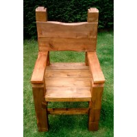 Large Hand Made Chunky Wooden Garden Chair - Folksy