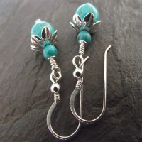 Turquoise gemstone sterling silver earrings - Folksy
