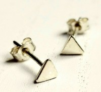 Triangle stud earrings, gold studs - Folksy