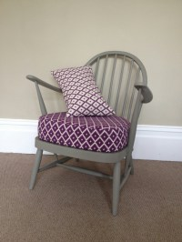 Vintage Ercol Chair Hand Painted Grey With Newl... - Folksy