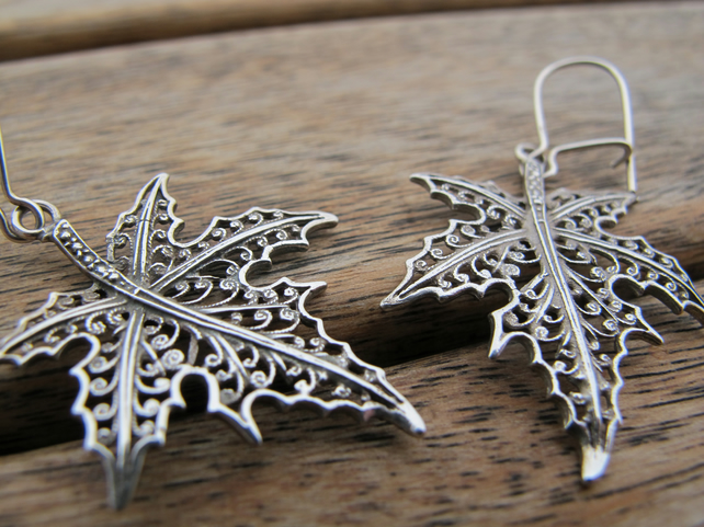 Silver Maple Leaf Earrings, Leaf Earrings, Ster...
