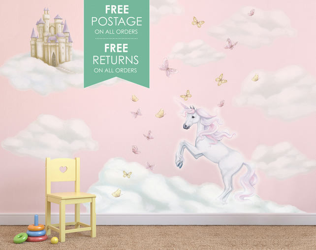 Baby Girl Nursery Removable Wallpaper Unicorn Wall Decals Wall Stickers Mural Folksy