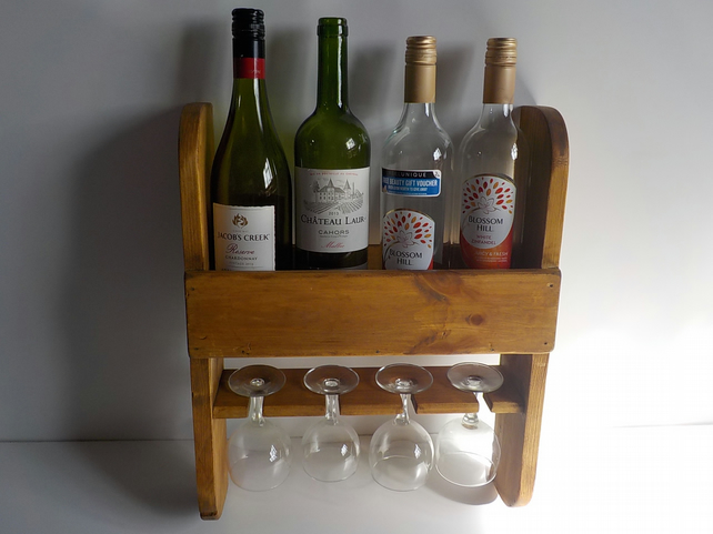 Rustic Wine And Glass Rack Handmade Can Be Pers Folksy