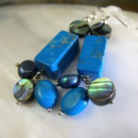 Blue Gemstone Earrings, Turquoise Earrings MS558 - Folksy