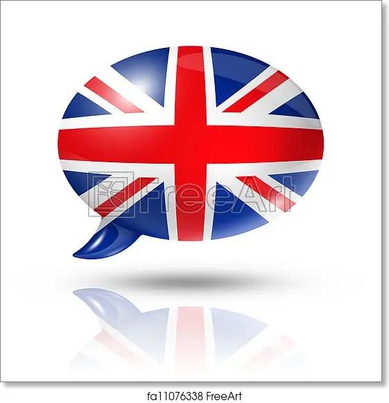 Free art print of British flag speech bubble Three dimensional UK