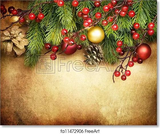 Free art print of Christmas Retro Card border design FreeArt