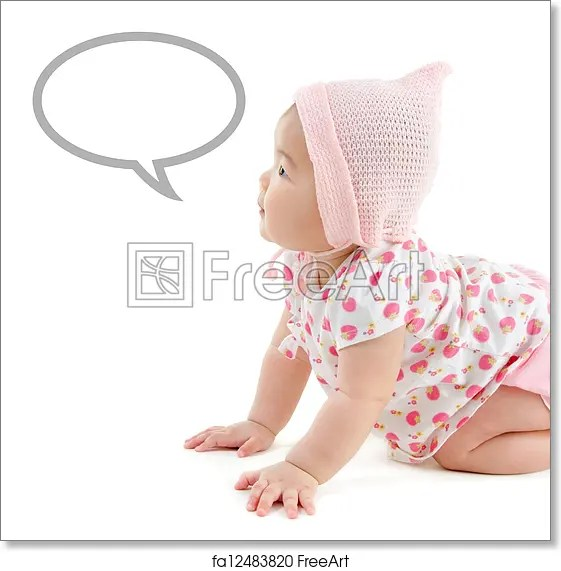 Free art print of Asian baby girl announcement Six months old East