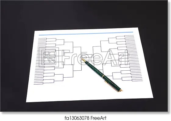 Free art print of March Madness Pen and Blank Tournament Bracket A