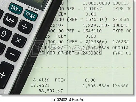 Free art print of Savings Account Passbook with Calculator FreeArt