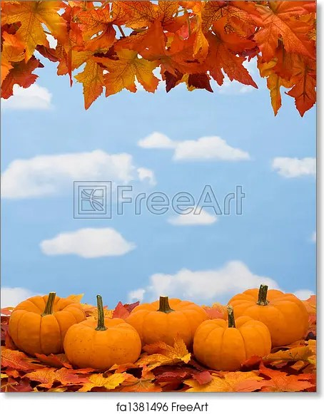 Free art print of Fall Harvest Border Fall leaves with pumpkin on