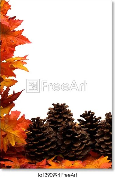 Free art print of Fall Harvest Border Fall leaves with pinecones on