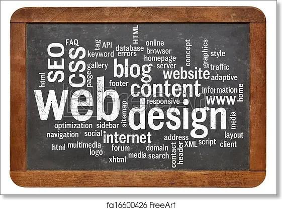 Free art print of Web design word cloud on blackboard Cloud of