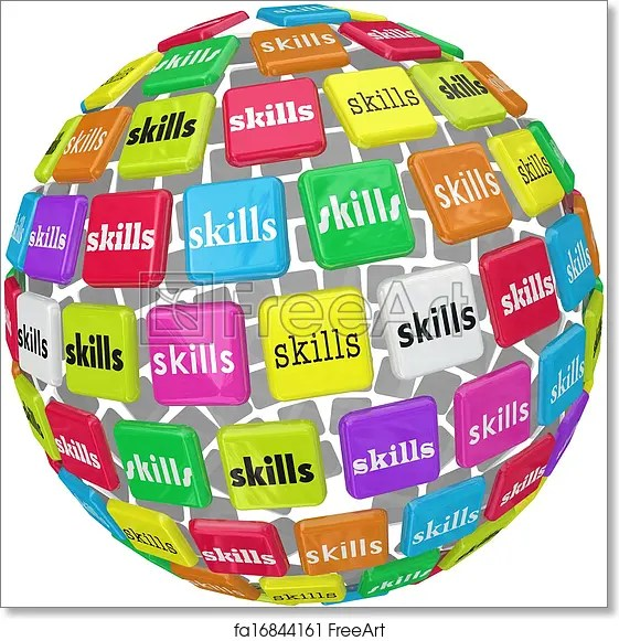 Free art print of Skills Word on Sphere Ball Required Experience Job