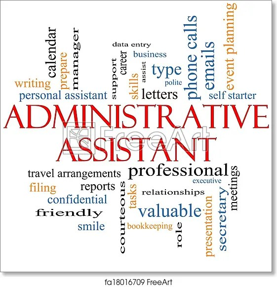Free art print of Administrative Assistant Word Cloud Concept - administrative assistant