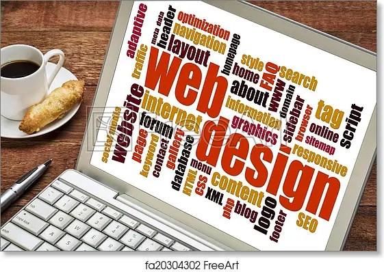 Free art print of Web design word cloud Web design word cloud on a