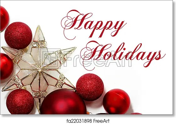 Free art print of Christmas Decorations Border with Text Happy