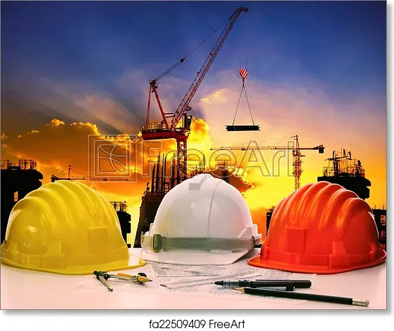 Free art print of Safety helmet on civil engineer working table