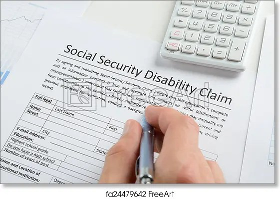 Free art print of Person Hand With Pen Filling Social Security - disability form