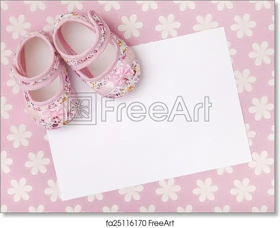 Free art print of New baby announcement Blank card with baby girl