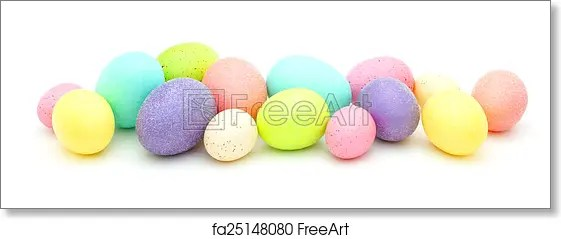 Free art print of Easter egg border Pile of colorful eggs, candy