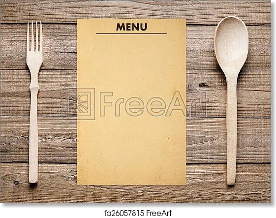 Free art print of Blank menu, fork and spoon on wooden table