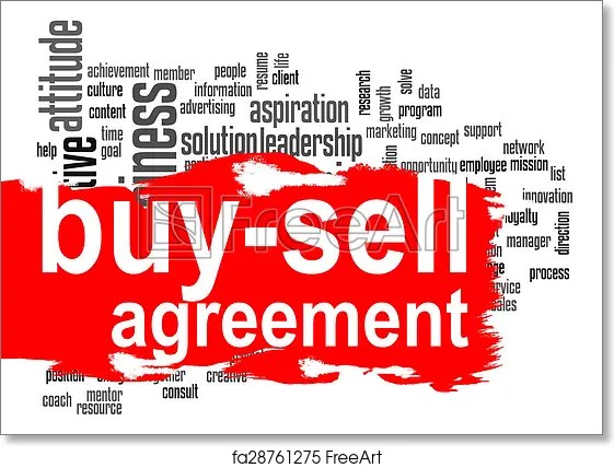 Free art print of Buy-sell agreement word cloud with red banner Buy