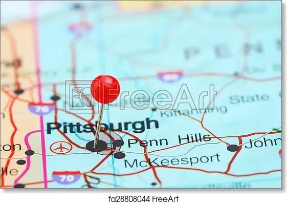 Pittsburgh Pinned On A Map Of Usa Art Print Home Decor Wall Art