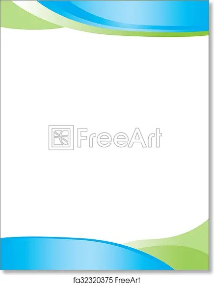 Free art print of Blue Green Swirl Letterhead Flyer, page, print