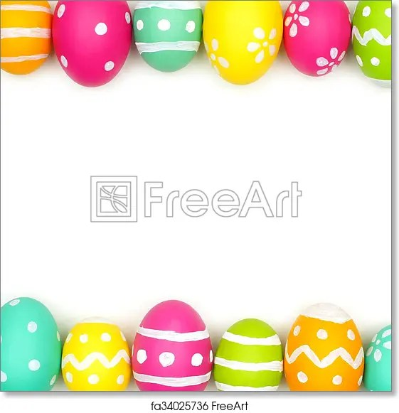 Free art print of Easter egg double border on white Colorful Easter
