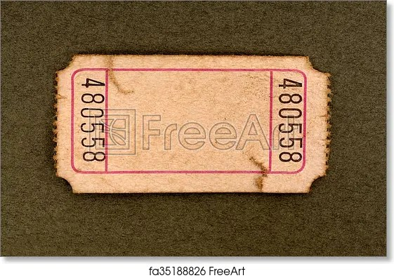 Free art print of Stained blank admission ticket Old torn blank