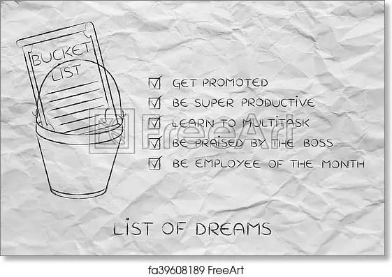 Free art print of Bucket list with employee\u0027s career goals, ticked - list of career goals