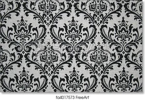 Free art print of Grey and Black Damask Pattern  Black on grey