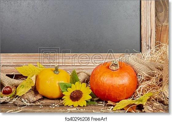Free art print of Chalkboard autumn sill life with pumpkin