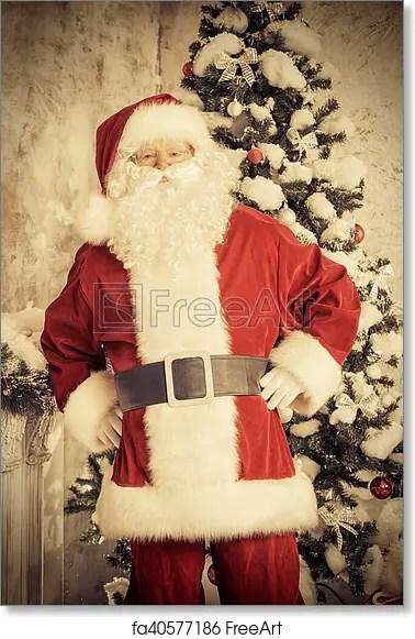 Free art print of Vintage santa Vintage Jolly Santa Claus standing