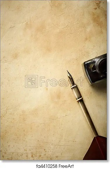 Free art print of Vintage blank Paper background with inkpot and