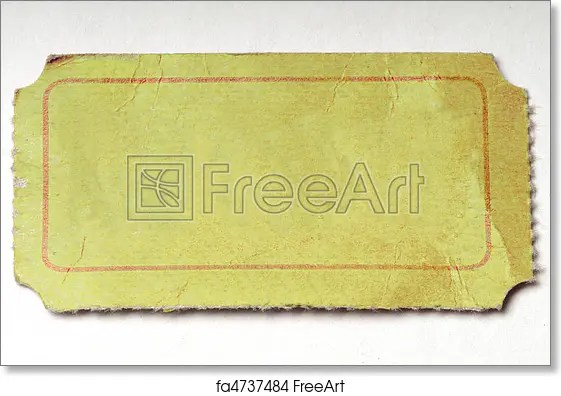 Free art print of Blank Yellow Ticket Blank yellow admission ticket