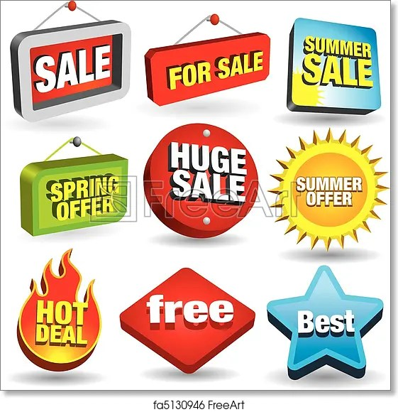 Free art print of Sale Signs Set of 3D price tags and sale signs