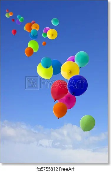 Free art print of Lots of coloured balloons flying into the sky