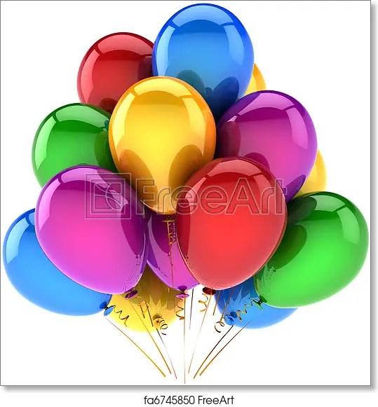 Free art print of Happy birthday balloons multicolor Balloons happy