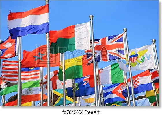Free art print of National flags The national flags all over the