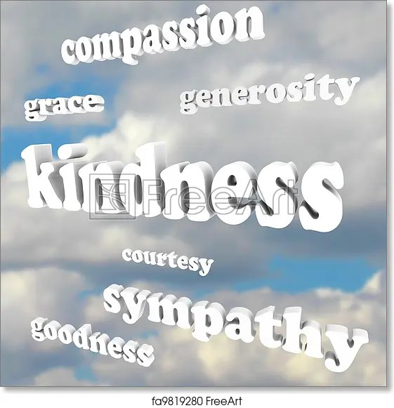 Free art print of Kindness Words in Sky Compassionate Generous