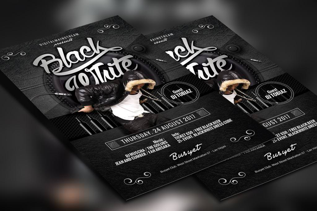 33+ Party Flyer Designs - PSD, Vector EPS, JPG Download - black and white flyer template