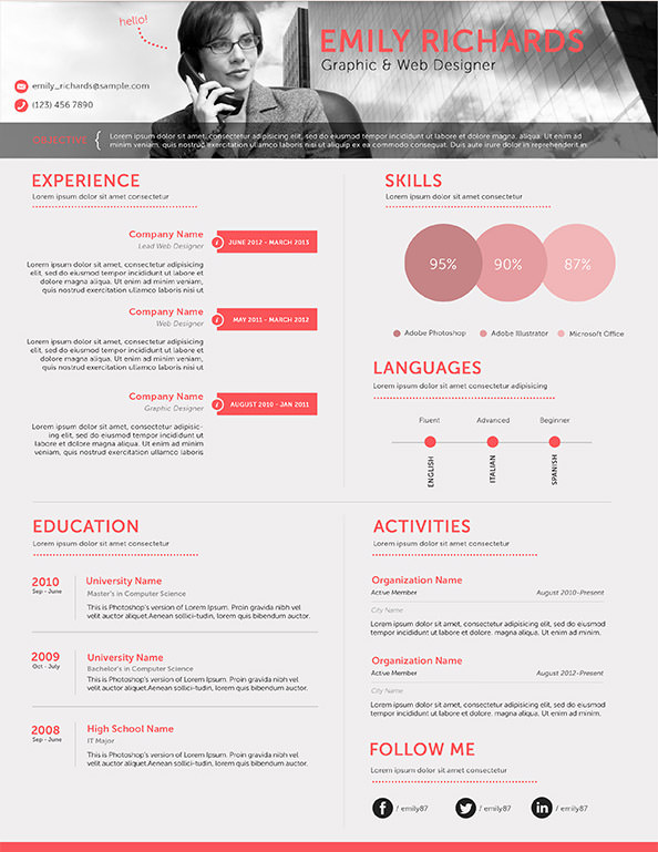 40+ Resume Template Designs FreeCreatives - professional resume design templates
