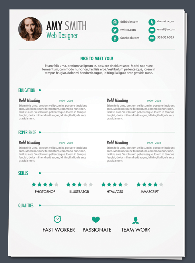 resume template photoshop cv free