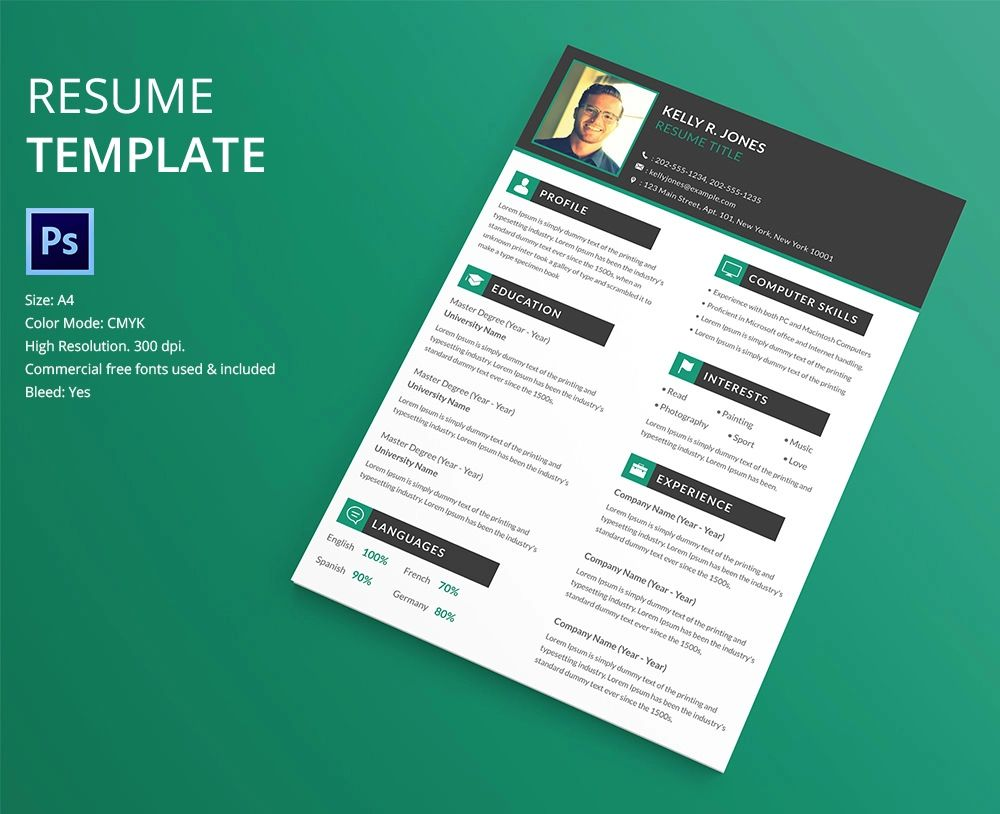 free graphic design resume template psd