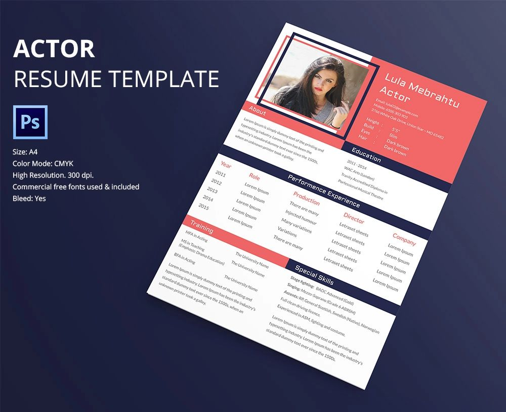 resume design free psd