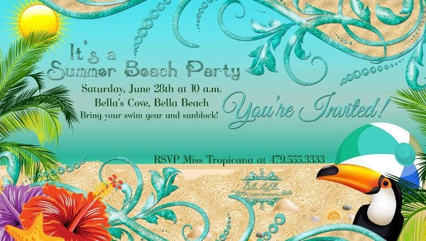 22+ Beautiful Beach Party Invitation Designs - PSD, EPS, JPG, AI