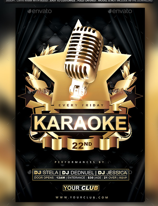 24+ Awesome Karaoke Flyer Templates  Creatives - PSD, Vector EPS, JPG