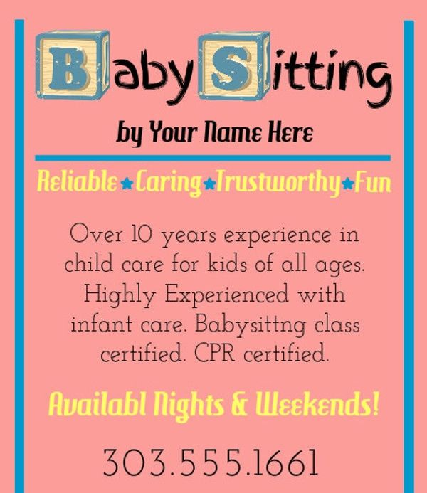 babysitting flyers template free