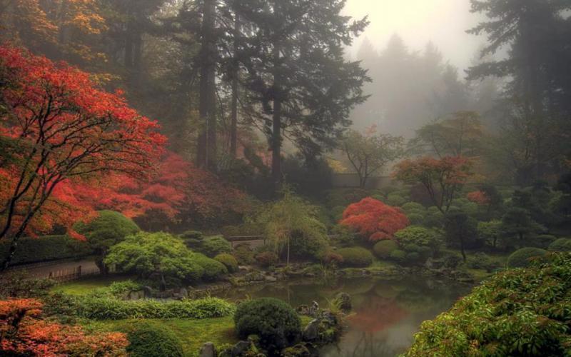 3d Garden Wallpaper Free Hd Foggy Japanese Garden Wallpaper Download Free 86915